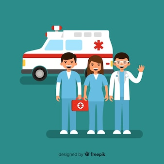 Equipe de ambulância plana