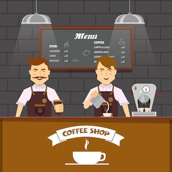 Equipe de barista no trabalho design