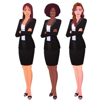 Equipe de belas mulheres de negócios isoladas