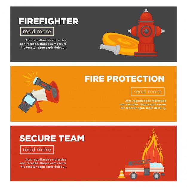 Equipe de bombeiro e proteção contra incêndio de fogo segurança web banner modelo conjunto