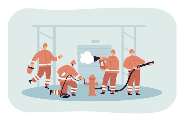 Equipe de bombeiros combatendo incêndios, resgatando pessoas e edifícios. ilustração plana.
