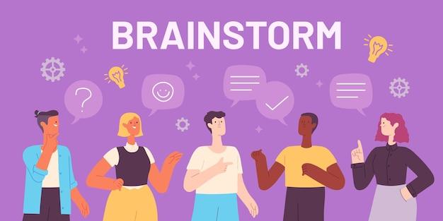 Equipe de brainstorming. empresários discutem ideias, pensam e falam. conversa em reunião de trabalho. conceito de vetor de projeto criativo. discussão, comunicação e reunião de brainstorming de ilustração
