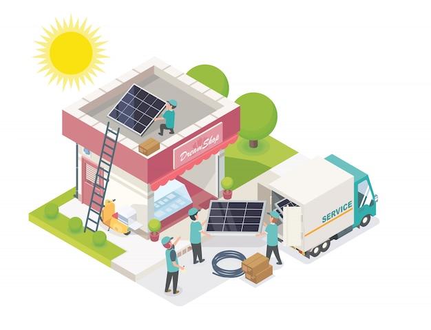 Equipe de célula solar serviço isométrico para pequenas empresas