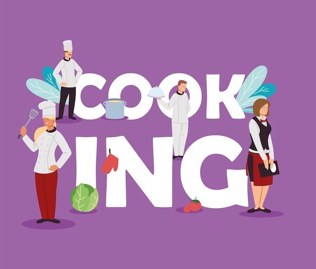 Equipe de chefs e garçons cozinhando para design de ilustração de restaurante