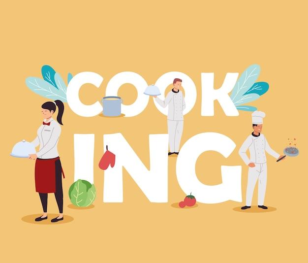 Equipe de chefs e garçons para design de ilustração de buffet de comida