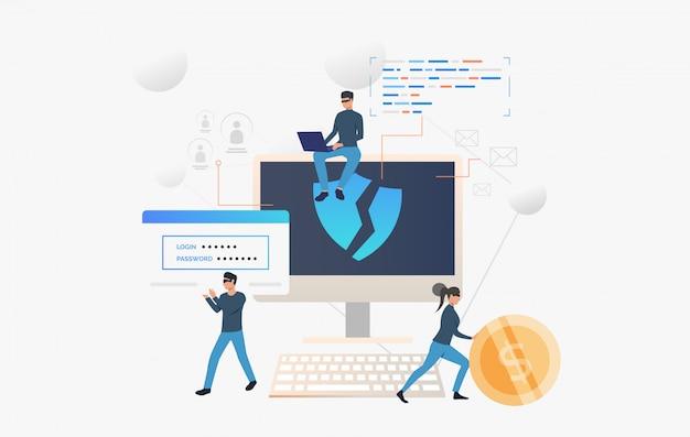 Equipe de cibercrime invadindo o computador