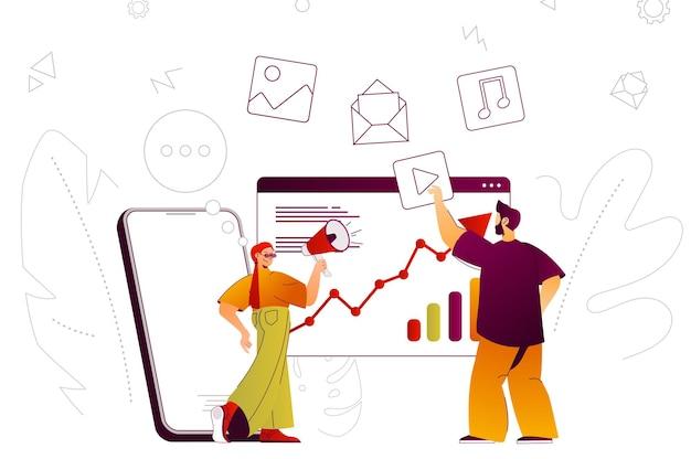 Equipe de conceito da web de marketing digital promovendo estratégia de desenvolvimento online