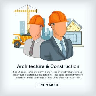 Equipe de conceito de processo de construção, estilo cartoon