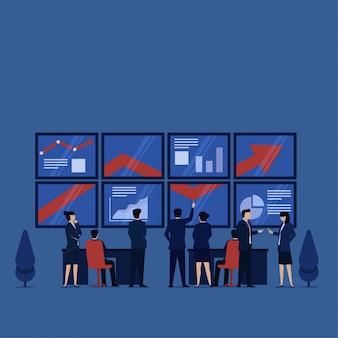 Equipe de conceito de vetor plana de negócios aprender com infográfico e relatório.