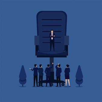Equipe de conceito de vetor plana de negócios discute com o gerente acima da metáfora da cadeira grande de grande responsabilidade.