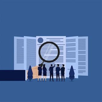 Equipe de conceito de vetor plana de negócios rever o contrato com certeza.