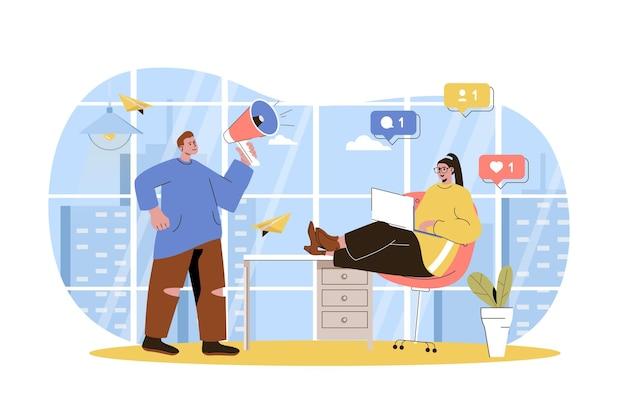 Equipe de conceito de web de marketing digital promovendo negócios em estratégia online de mídia social
