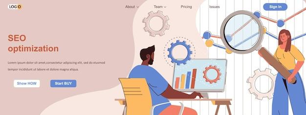 Equipe de conceito de web de otimização de seo configura mecanismo de pesquisa promove site on-line