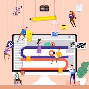 Equipe de conceito trabalhando para a construção de um aplicativo de e-book na área de trabalho. ilustrar.