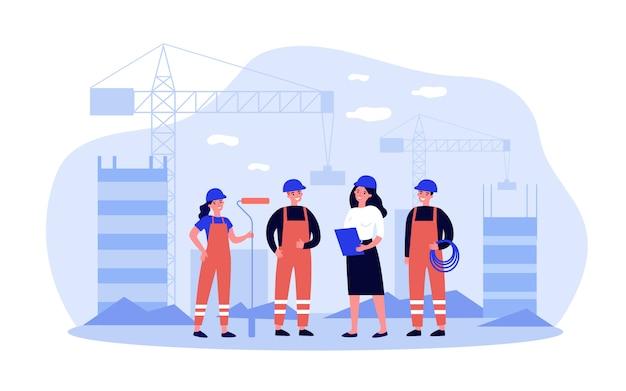 Equipe de construtores no local