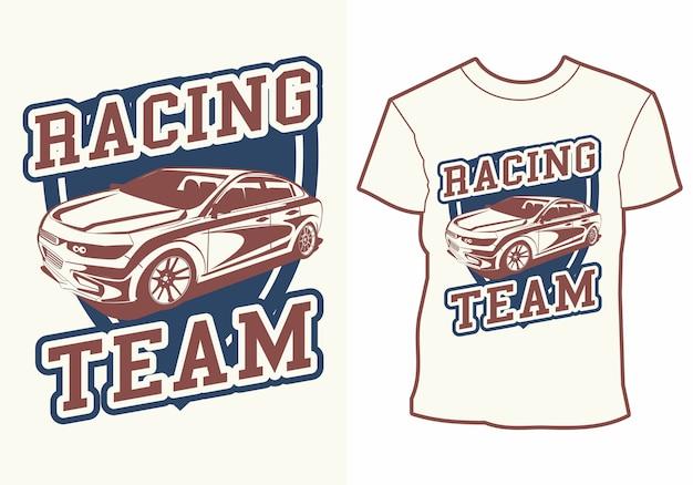 Equipe de corrida de carro, design de camiseta de carro