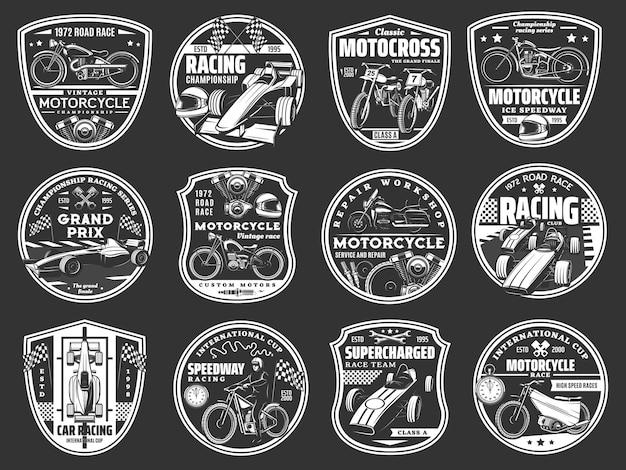 Equipe de corrida de carros e motos, ícones de serviço de reparo