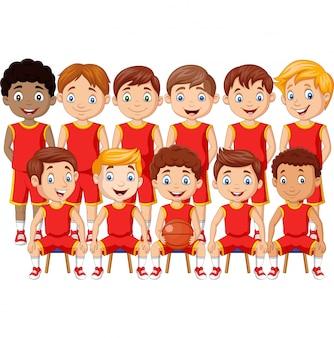 Equipe de crianças de basquete dos desenhos animados de uniforme