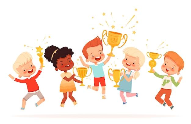 Equipe de crianças fofas venceu a competição.
