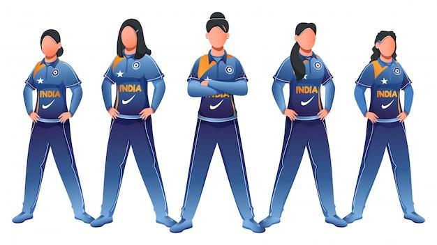 Equipe de críquete das mulheres da índia na pose da posição no fundo branco.