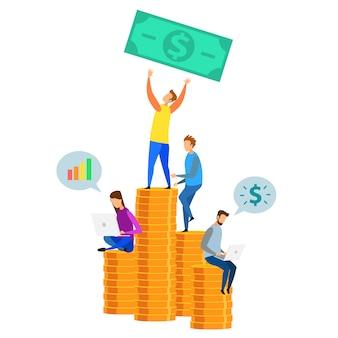 Equipe de desenho animado encontro analysys dollar coin stack