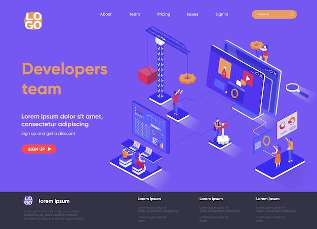 Equipe de desenvolvedores ilustração isométrica 3d da página de destino com personagens de pessoas