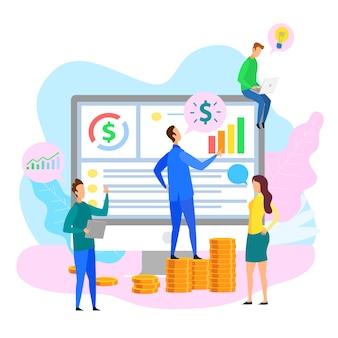 Equipe de desenvolvedores presentation chart grow businessman