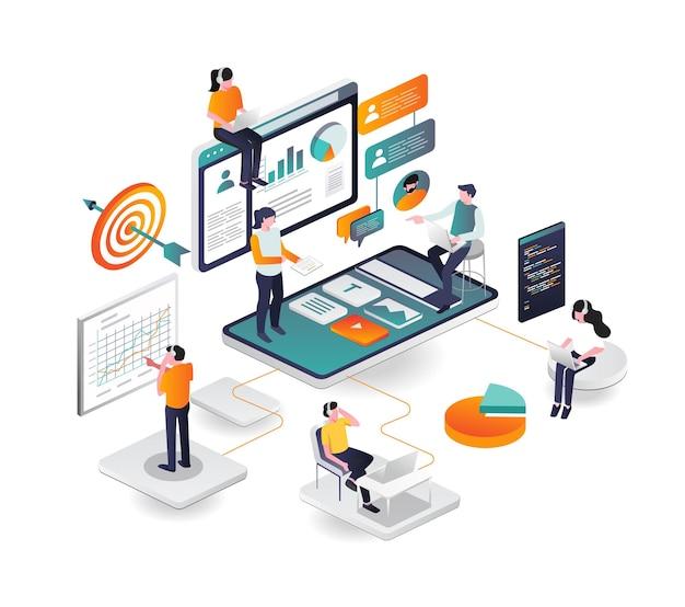 Equipe de desenvolvimento de aplicativos da web de análise de smartphone