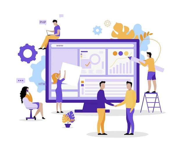 Equipe de desenvolvimento web plana