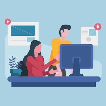 Equipe de designers gráficos trabalhando no computador portátil