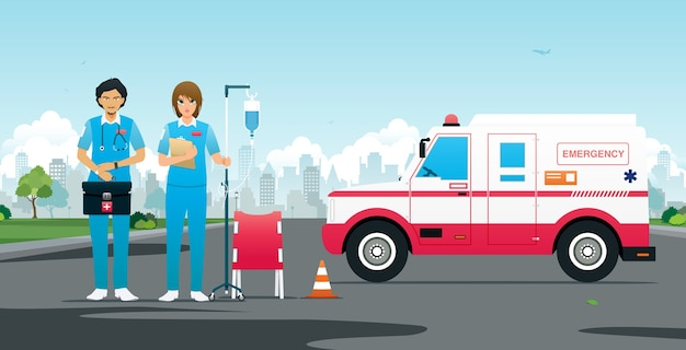 Equipe de emergência com veículos e equipamentos de primeiros socorros