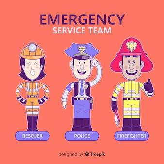 Equipe de emergência desenhada à mão