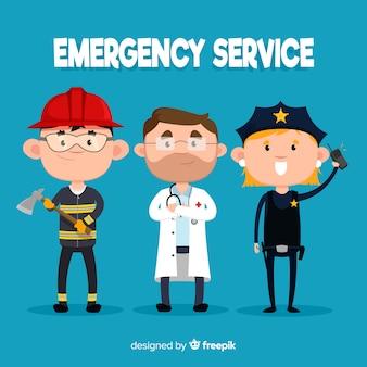 Equipe de emergência plana
