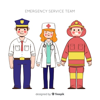 Equipe de emergência profissional de mão desenhada