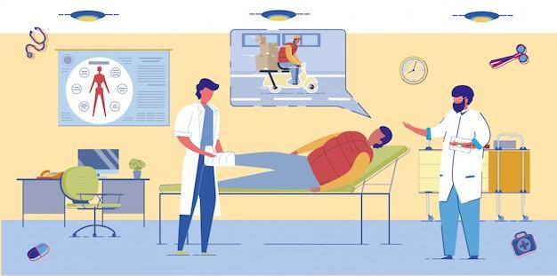 Equipe de emergência trata paciente ferido em acidente.