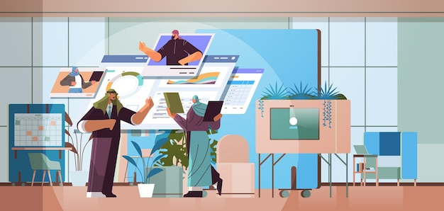 Equipe de empresários árabes analisando dados estatísticos financeiros com colegas nas janelas do navegador da web durante a videochamada comunicação online conceito de trabalho em equipe ilustração vetorial de corpo inteiro horizontal