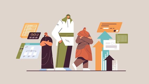Equipe de empresários árabes brainstorming conceito de trabalho em equipe de desenvolvimento de negócios ilustração vetorial de corpo inteiro horizontal