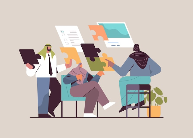 Equipe de empresários árabes colocando peças do quebra-cabeça parceiros de negócios árabes trabalhando juntos no projeto problema solução conceito trabalho em equipe ilustração vetorial de comprimento total horizontal