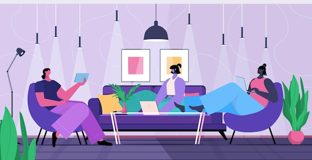 Equipe de empresários usando dispositivos digitais empresários trabalhando juntos conceito de trabalho em equipe de comunicação on-line ilustração vetorial de corpo inteiro horizontal