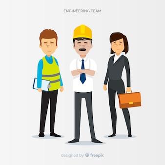 Equipe de engenharia plana no trabalho