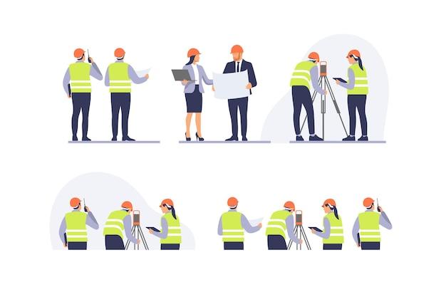 Equipe de engenheiros com equipamento no local de construção. ilustração vetorial