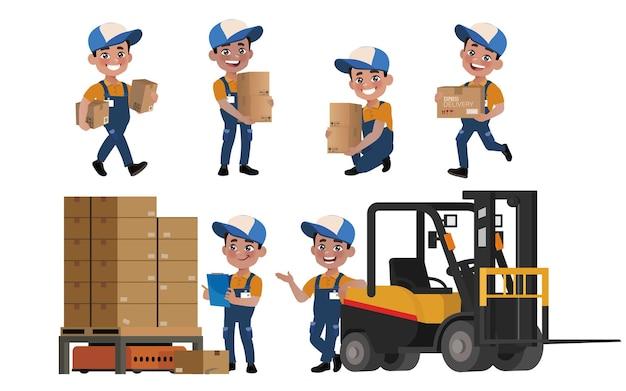 Equipe de entrega com diferentes poses