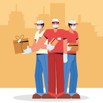 Equipe de entrega com máscara facial e caixas