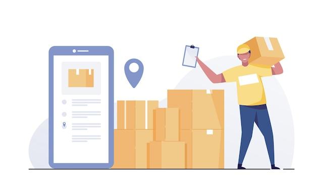 Equipe de entrega de encomendas e aplicativo móvel.