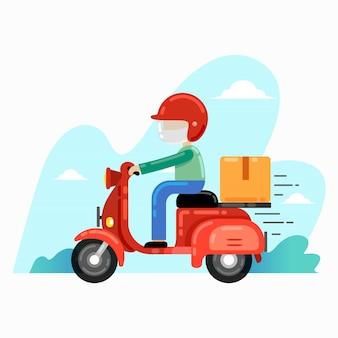 Equipe de entrega, entrega de pedidos com scooter
