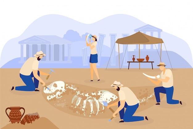 Equipe de escavação arqueológica descobre esqueleto de dinossauro, ilustração de pessoas