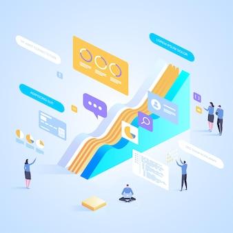 Equipe de especialistas em análise de dados e serviços de consultoria. ilustração isométrica para página de destino, web design, banner e apresentação.