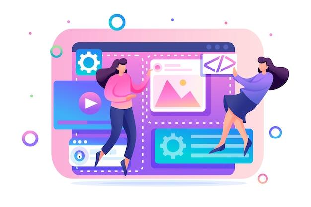 Equipe de especialistas está trabalhando na criação de web design. conceito de trabalho em equipe. personagem 2d plana. conceito para web