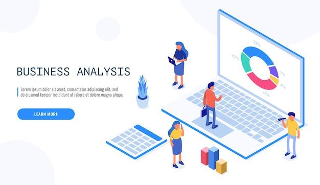 Equipe de especialistas isométricos em análise de dados, estatística de negócios, gestão, consultoria, marketing. conceito de modelo de página de destino.