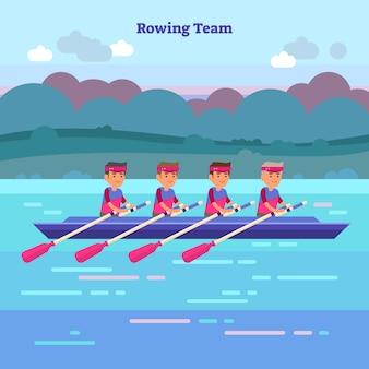 Equipe de esportes de remo plana no barco, ilustração vetorial de conceito